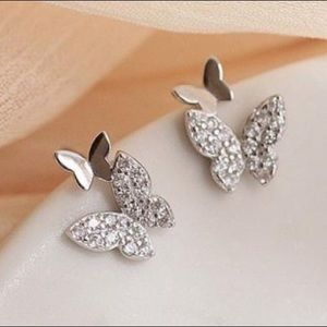 NEW 925 STERLING SILVER DIAMOND BUTTERFLY STUDS
